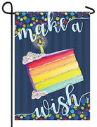 Make A Wish Birthday Glitter Garden Flag