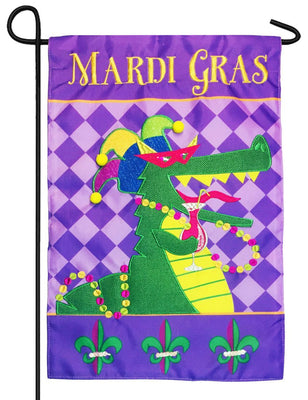 Mardi Gras Gator Double Applique Garden Flag