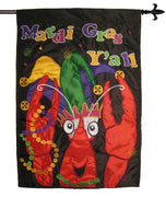Mardi Gras Y'all Crawfish Double Applique House Flag