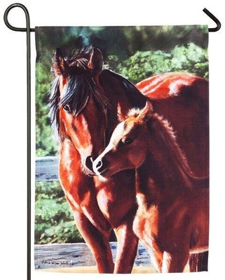 Mare and Foal Suede Reflections Garden Flag