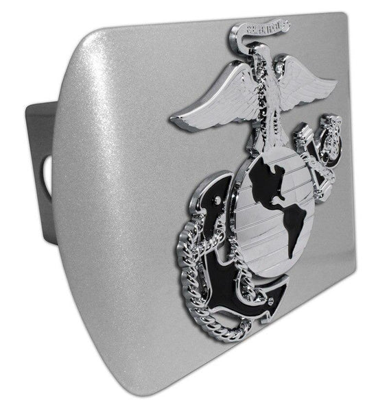 Marines Insignia Premium Chrome and Black Brushed Chrome Hitch Cover