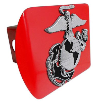 Marines Insignia Premium Chrome and Black Red Hitch Cover