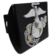 Marines Insignia Premium Chrome and Gold Black Hitch Cover