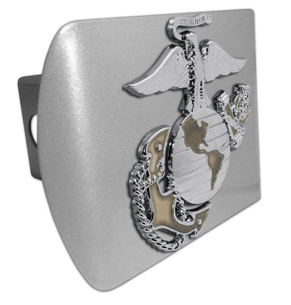 Marines Insignia Premium Chrome and Gold Brushed Chrome Hitch Cover