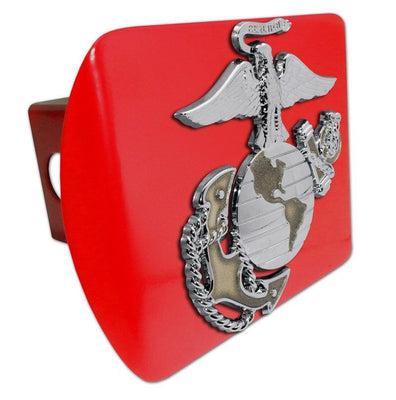 Marines Insignia Premium Chrome and Gold Red Hitch Cover