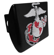 Marines Insignia Premium Chrome and Red Black Hitch Cover