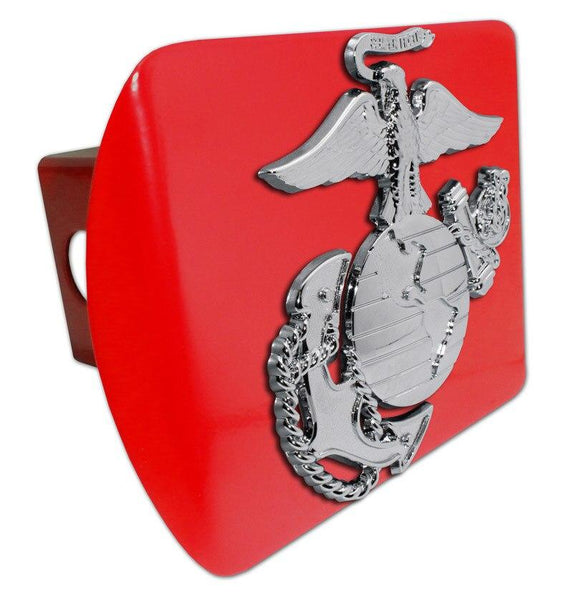 Marines Insignia Premium Chrome and Red Hitch Cover