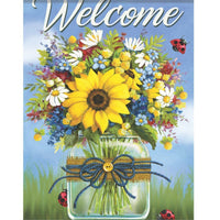 Mason Jar Fresh Cut Flowers House Flag