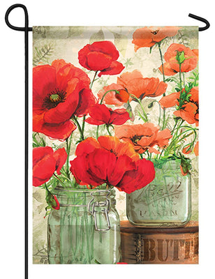 Mason Jar Poppies Garden Flag