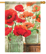 Mason Jar Poppies House Flag