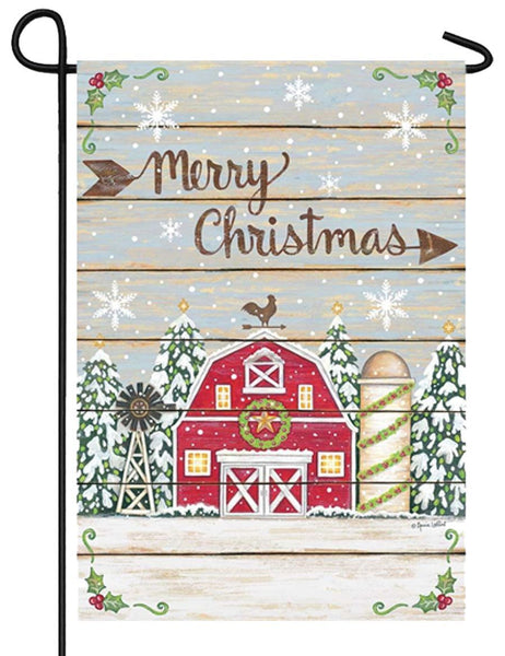 Merry Christmas Barn Garden Flag