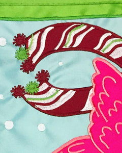 Merry Christmas Flamingo Double Applique House Flag