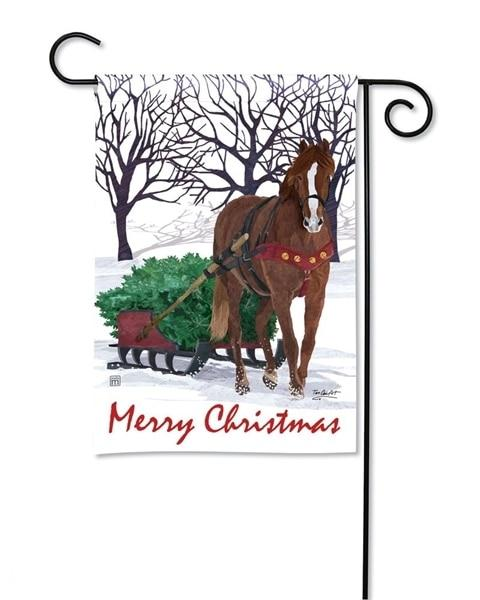 Merry Christmas Horse Drawn Sled Garden Flag