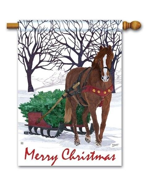 Merry Christmas Horse Drawn Sled House Flag - All Decorative Flags/Holidays/Christmas Flags - I AmEricas Flags