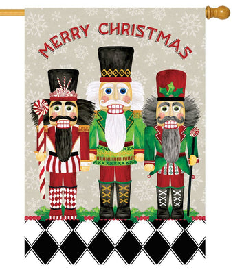 Merry Christmas Nutcrackers House Flag