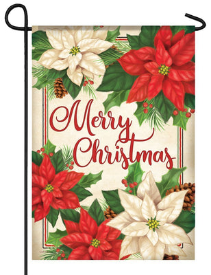 Merry Christmas Poinsettias Garden Flag