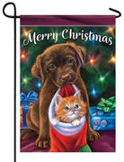 Merry Christmas Puppy and Kitten Garden Flag