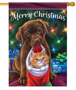 Christmas Puppy and Kitten House Flag