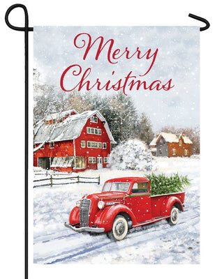 Merry Christmas Red Pickup Truck Garden Flag