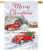 Merry Christmas Red Pickup Truck House Flag