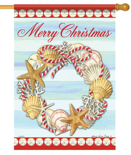Merry Christmas Seashell Wreath House Flag - All Decorative Flags/Holidays/Christmas Flags - I AmEricas Flags