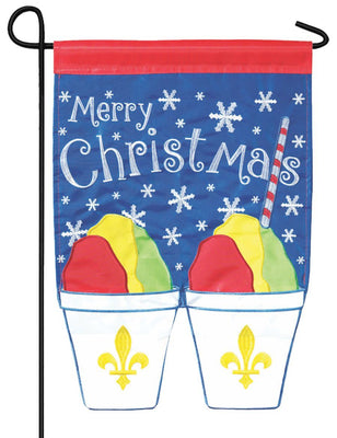 Merry Christmas Snowball Pair Double Applique Garden Flag