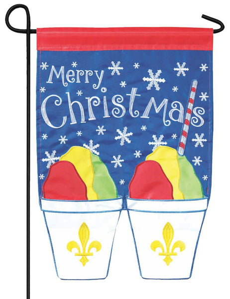 Merry Christmas Snowball Pair Double Applique Garden Flag - All Decorative Flags/Holidays/Christmas Flags - I AmEricas Flags