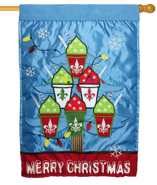 Merry Christmas Snowballs Double Applique House Flag - All Decorative Flags/Holidays/Christmas Flags - I AmEricas Flags
