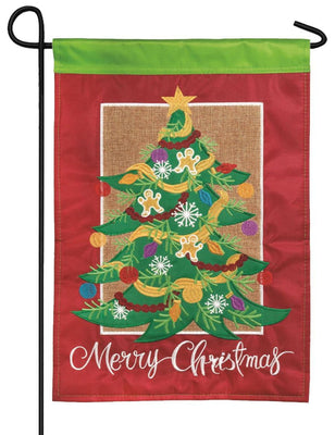 Merry Christmas Tree Double Applique Garden Flag