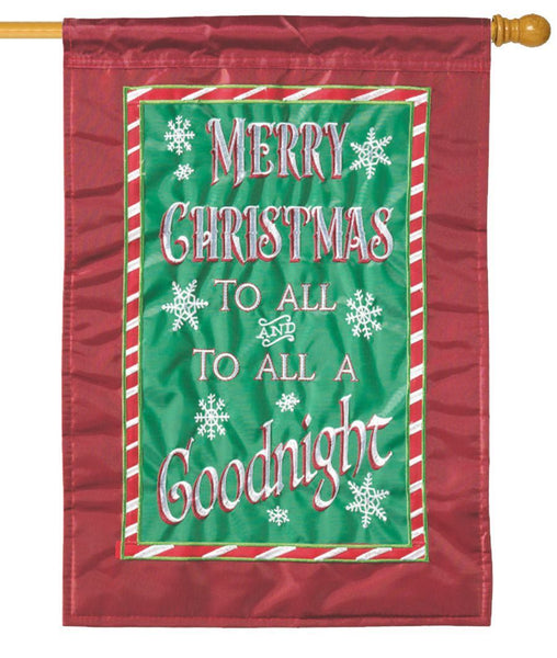 Merry Christmas to All Double Applique House Flag - All Decorative Flags/Holidays/Christmas Flags - I AmEricas Flags