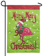 Merry Merry Christmas Flamingo Double Applique Garden Flag