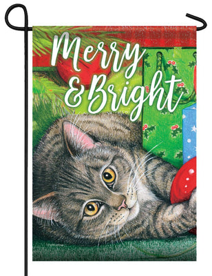 Merry and Bright Kitty Garden Flag