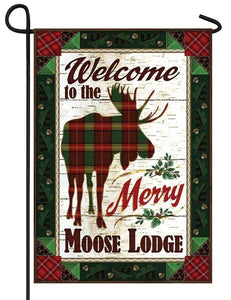 Merry Moose Lodge Welcome Garden Flag