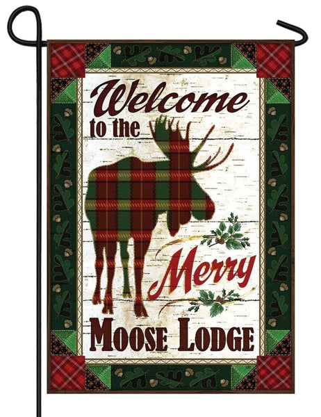 Merry Moose Lodge Welcome Garden Flag - All Decorative Flags/Themes/Animal Flags/Wildlife - Other Animal Flags - I AmEricas Flags