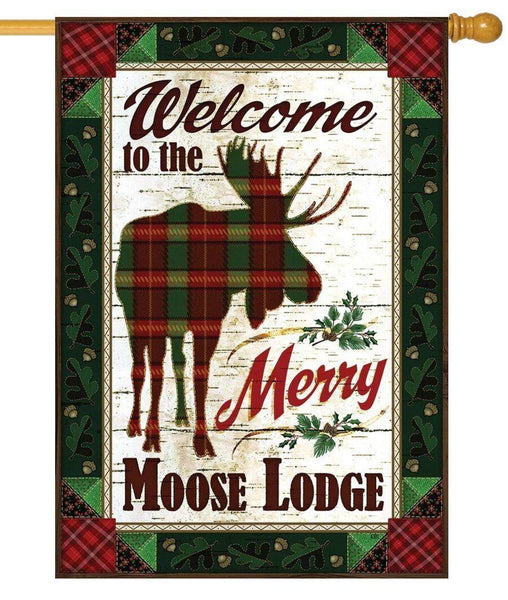 Merry Moose Lodge Welcome House Flag