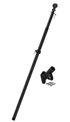 Metal Extendable Flagpole and Bracket Kit Black