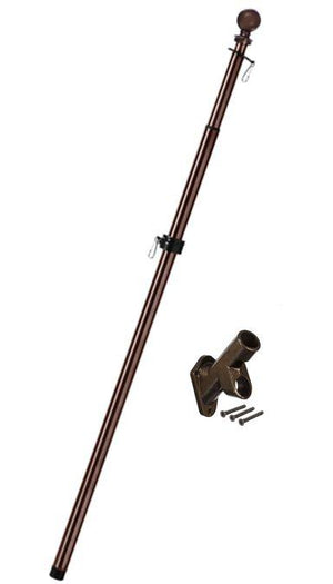 Metal Extendable Flagpole and Bracket Kit Bronze