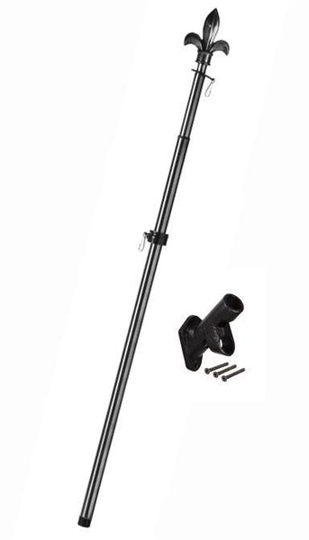 Metal Extendable Flagpole with Fleur de Lis Topper and Bracket Kit Black - I AmEricas Flags
