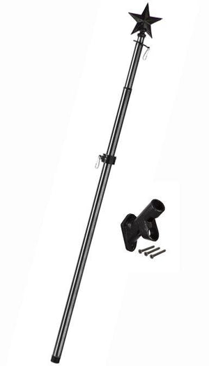 Metal Extendable Flagpole with Star Topper and Bracket Kit Black