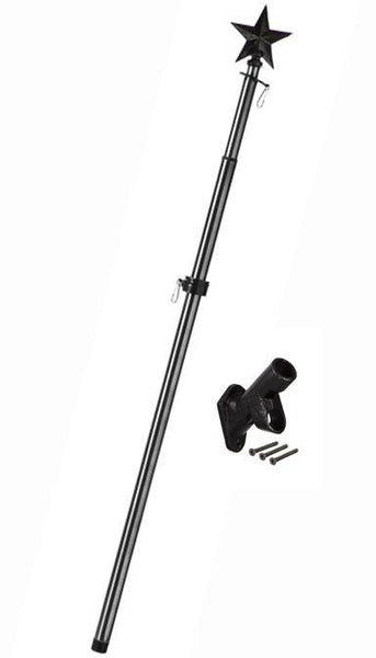 Metal Extendable Flagpole with Star Topper and Bracket Kit Black - Flagpoles | Hardware/Wall Mounted Flagpoles - I AmEricas Flags