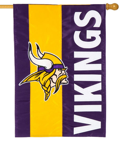 Minnesota Vikings Embellished Applique House Flag