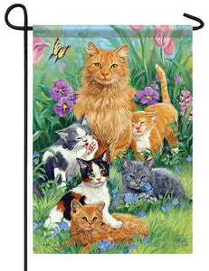Mom with Kittens Garden Flag