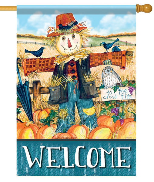 Mr. Scarecrow Welcome House Flag - All Decorative Flags/Seasons/Fall Flags - I AmEricas Flags