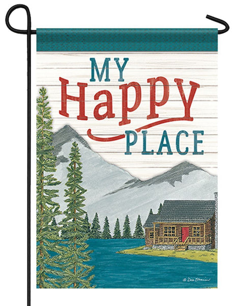 My Happy Place Cabin Garden Flag