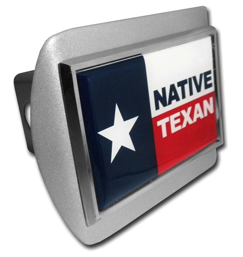 Native Texan Flag Brushed Chrome Hitch Cover