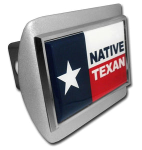 Native Texan Flag Brushed Chrome Hitch Cover - Chrome Car Emblems | Trailer Hitch Covers/Flag and State Symbol Emblems - I AmEricas Flags