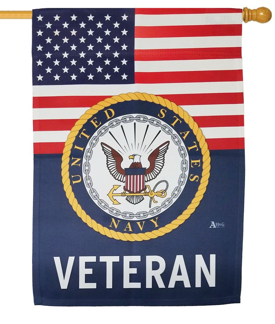 Navy Veteran Sublimated House Flag