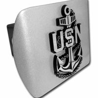 Navy USN Anchor Brushed Chrome Hitch Cover