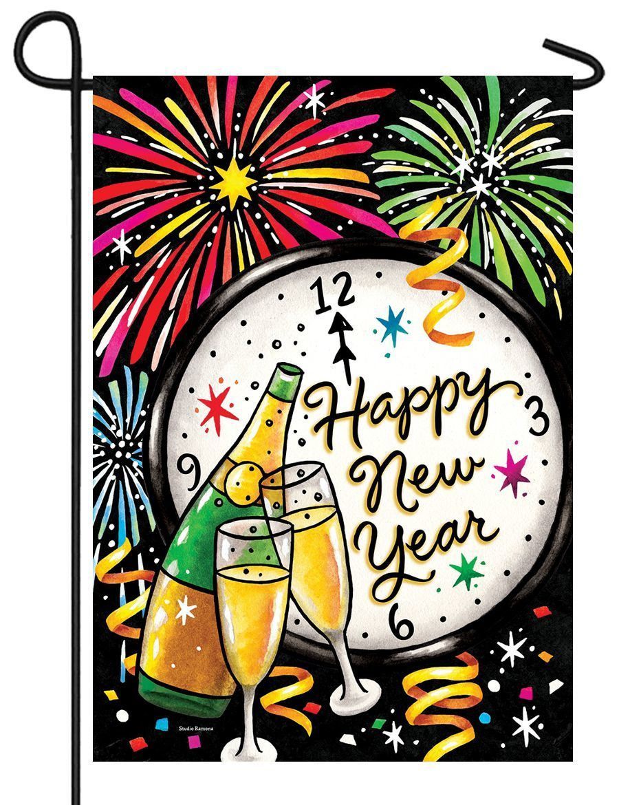 New Year Champagne and Fireworks Garden Flag