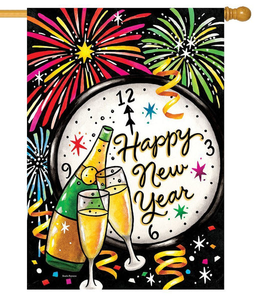 New Year Champagne and Fireworks House Flag